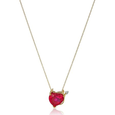 Ruby Devil Heart Pendant with Diamond