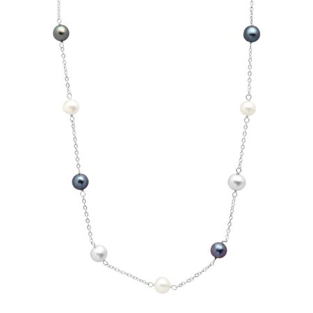 Grey, White & Black Pearl Station Necklace
