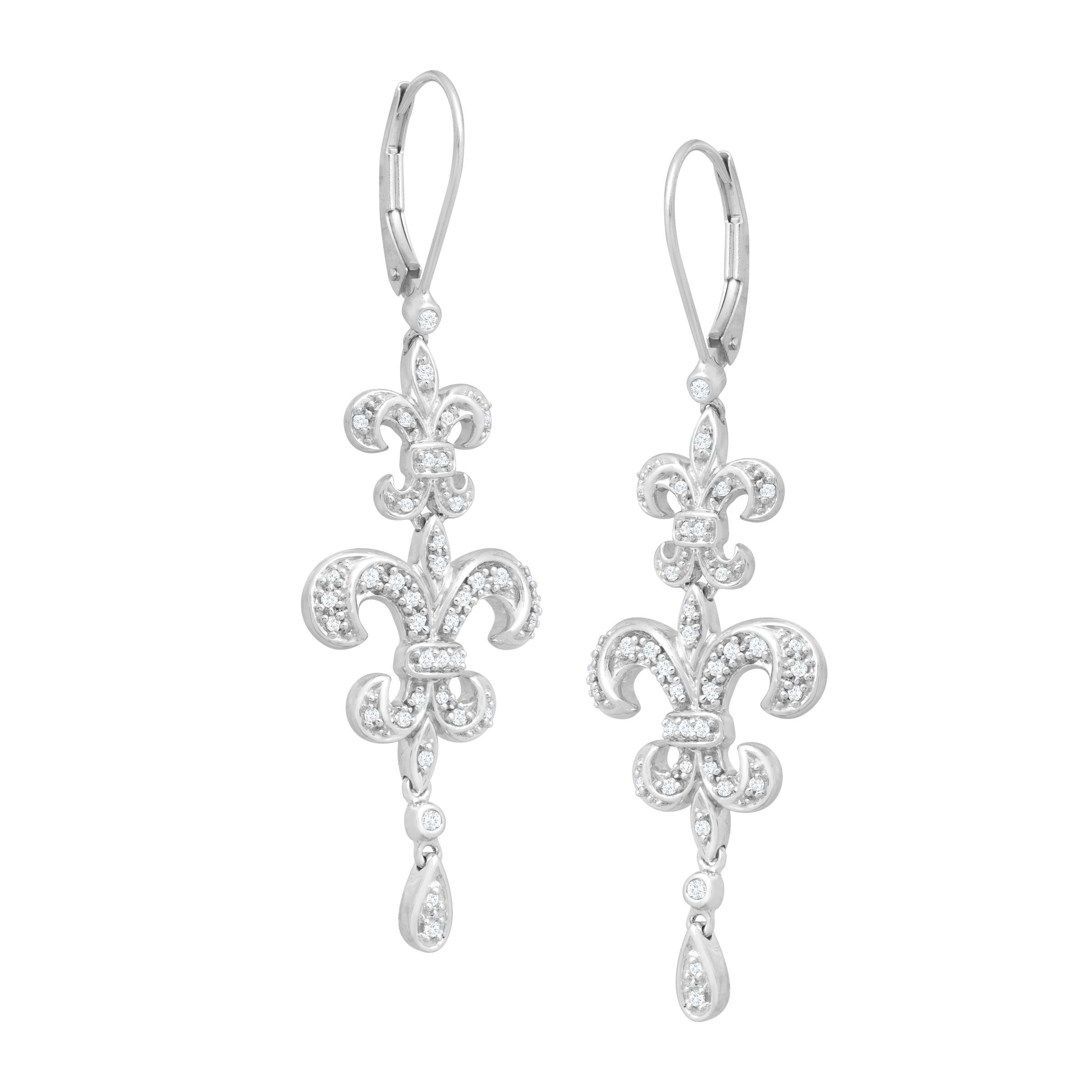 1 3 Ct Diamond Fleur De Lis Drop Earrings In 14k White Gold