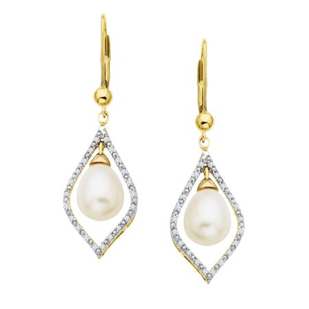 1/8 ct Diamond & Pearl Earrings