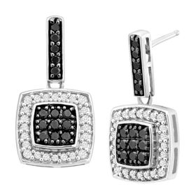 1/2 ct Black and White Diamond Drop Earrings
