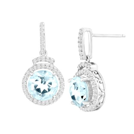 2 3/8 ct Aquamarine & 1/4 ct Diamond Drop Earrings