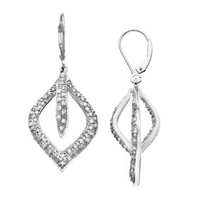3/4 ct Diamond Open Marquise Drop Earrings