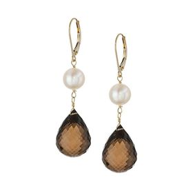 Pearl & Smokey Quartz Drop Earrings