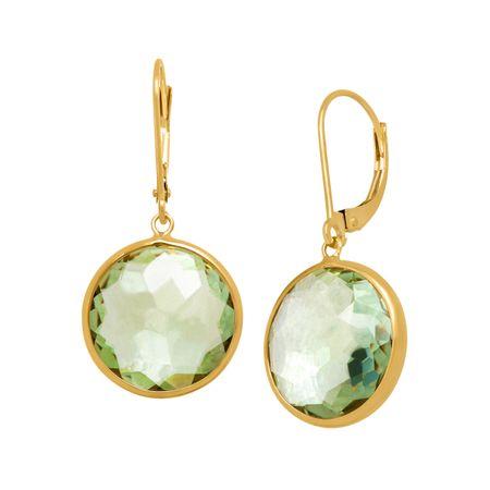 13 Ct Green Amethyst Drop Earrings