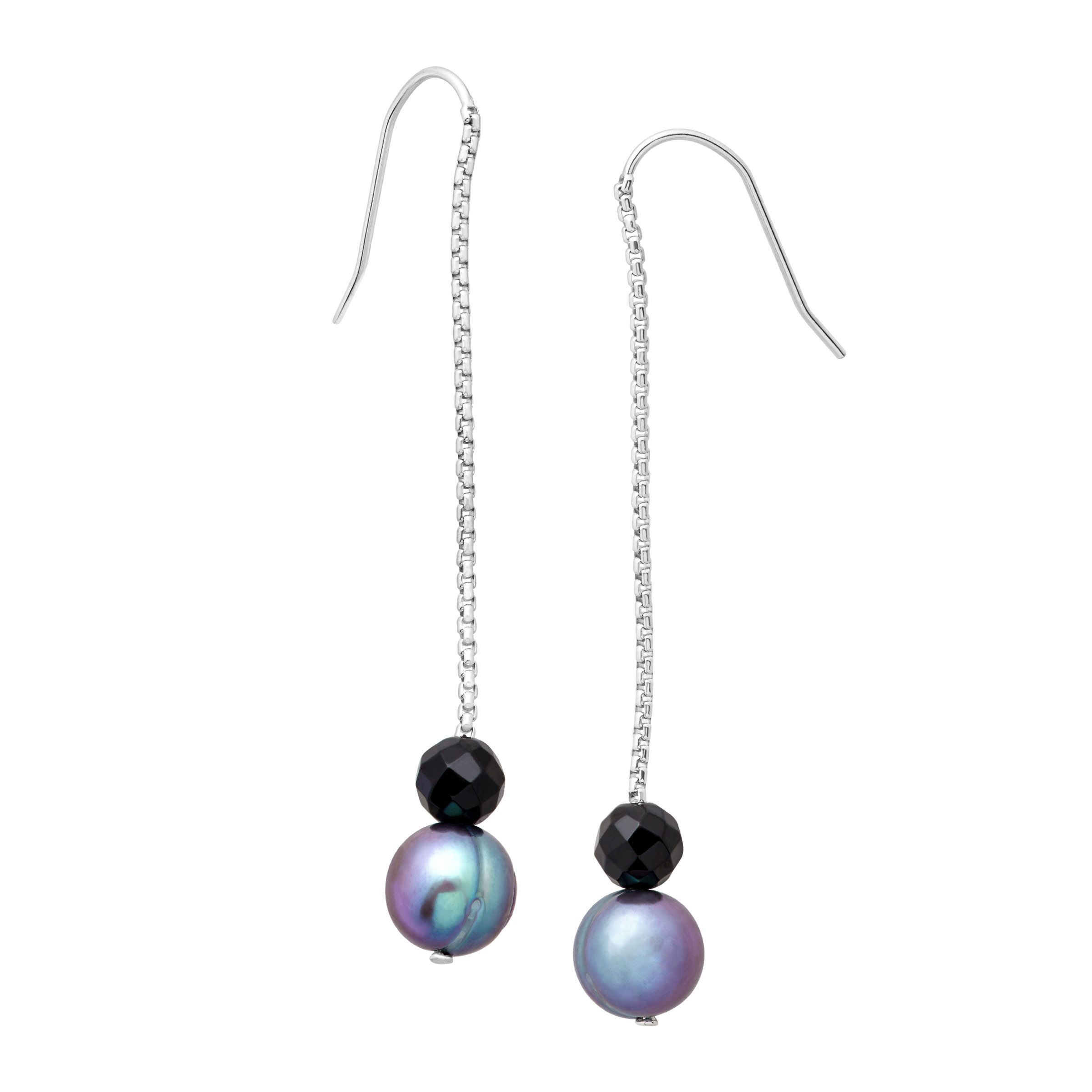 e2f1c3a5b Honora Blue Freshwater Ringed Pearl & Onyx Bead Drop Earrings in Sterling  Silver