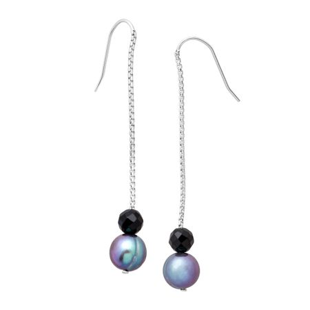 Blue Ringed Pearl & Onyx Drop Earrings