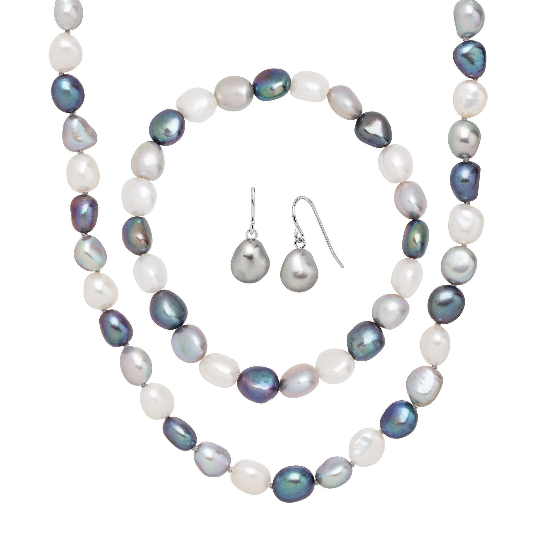 20 Inch Natural 7-8mm White Freshwater Pearl Necklace Earring Set New