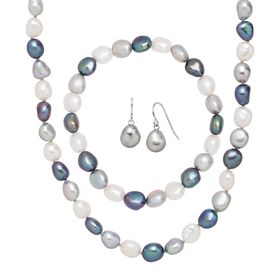 7-8 mm Baroque Pearl Necklace, Earring & Bracelet Set