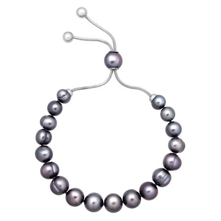7-10 mm Black Pearl Bolo Bracelet with Slider