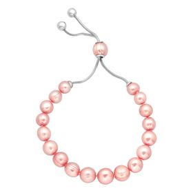 7-10 mm Rose Pearl Bolo Bracelet with Slider