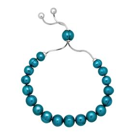 7-10 mm Teal Pearl Bolo Bracelet with Slider