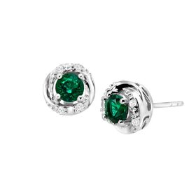 1 ct Emerald & White Sapphire Stud Earrings