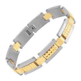 Men's Pyramid Stud Two-Tone Link Bracelet