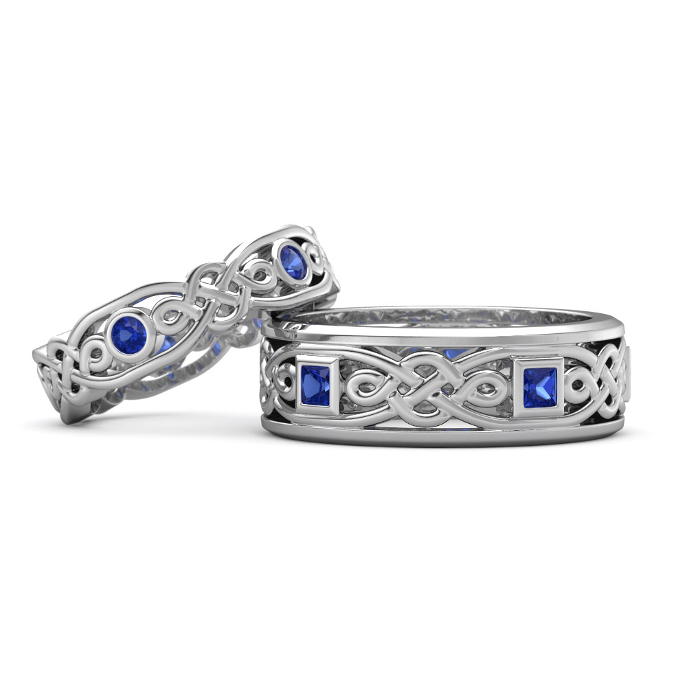 Platinum his and hers wedding rings wedding bands his - Celtic Inspired