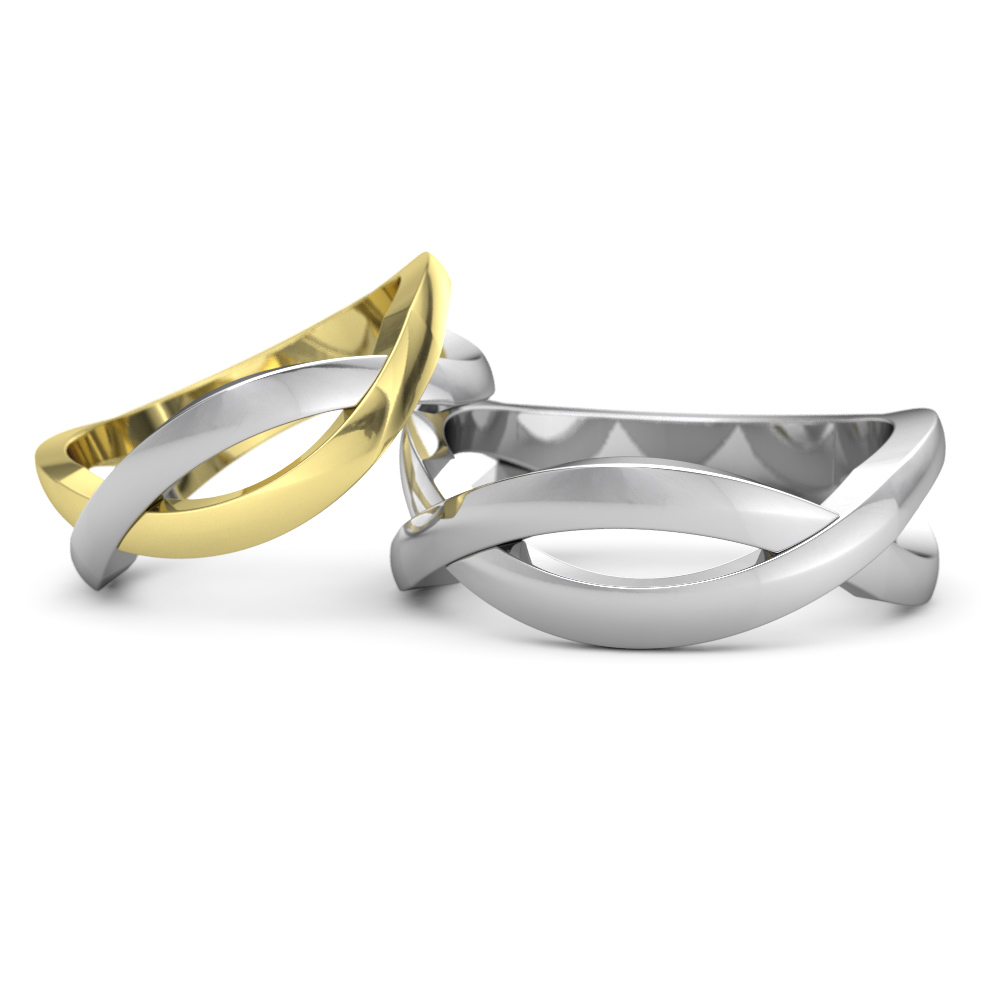 two paths joined - Matching Wedding Rings